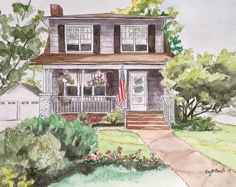 Custom House Portrait-Original House Painting-House Portrait