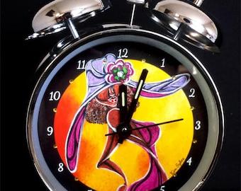 "Silver Bell Alarm Clock ""Purple Dress"""