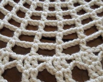 "Handmade Beige 30"" Crochet Rug"