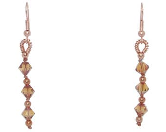 Swarovski Crystal Copper and Copper Earrings