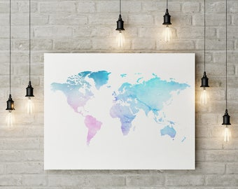 Instant Download, Watercolour Atlas, Digital Print, World Map, Home Decor, High Quality, Watercolour Print, Downloadable, New Home Gift.