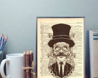 Steampunk man Illustration poster, Print on dictionary page, Vintage print on old book, Art print, Wall vintage art, Gift for any ocasion