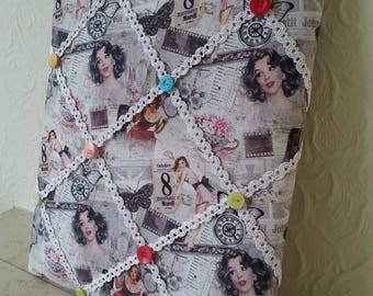 Notice Board: Vintage inspired fabric notice board, memo board, home organisation, gift for the home, bedroom, office.