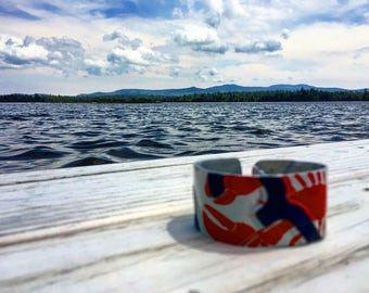 Hand Crafted, Upcycled, State Plate Cuff Bracelet; Maine Lobster