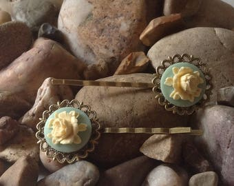 Soft Mint Bronze Vintage Peony Flower Cameo Hair Bobby Kirby Clips Grips Slides Pins - Handmade - Brand New