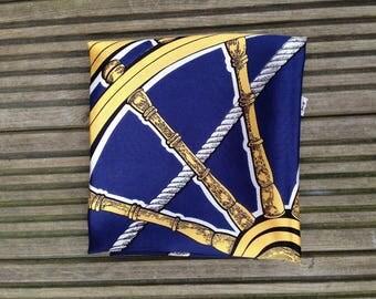 Blue & Gold Boat Wheel Vintage Scarf