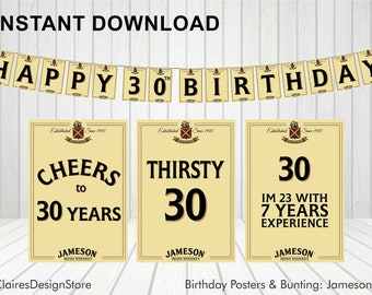 Irish Whiskey 30th Birthday Bunting and 3 x Posters *Instant Download*