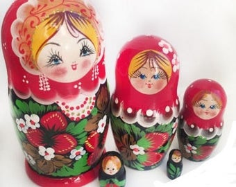 Matryoshka, nesting doll, russian doll Russian khokhloma,hand painted, Souvenirs from Russia, collecting, ethnics
