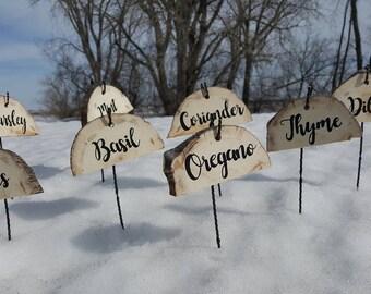 Handpainted garden herb markers