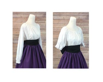 Blouse Only - Renaissance Civil War Victorian Southern Belle LARP Cosplay Pioneer - White Short/Long Sleeve Peasant Top Shirt Blouse