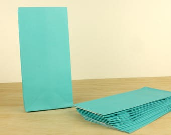 100 TEAL BLUE Bags - Lolly Bag For Party Wedding Gift Loot Candy Buffet - Small Craft Flat Bottom