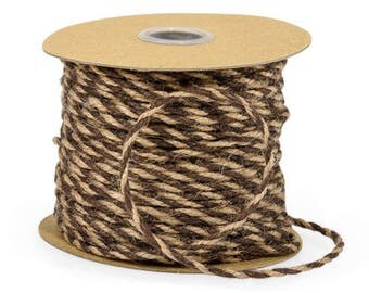 10 yds. Chocolate Brown and Natural Tan Duo Jute Twine