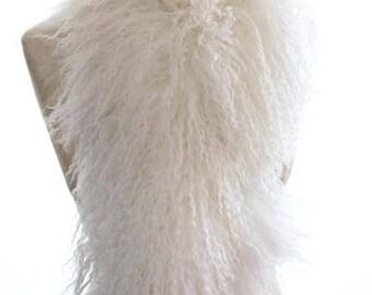 Mongolian Fur Boa - Snow
