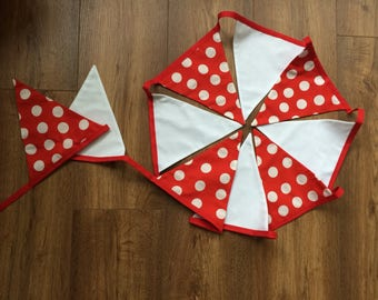 Red and white spotty dotty hand made bunting