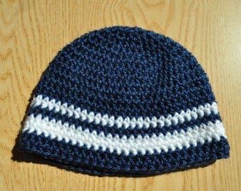 Blue and White Baby Hat/ Crochet Baby Hat/ Baby Boy Beanie