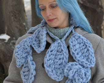 Hand crochet scarf, finger crochet sky blue flower scarf, flower lariat, crochet scarf, crochet lariat made from extra bulky, chunky yarn
