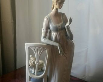 "Lladro #4719 ""Lady Empire"" 19 inches, Woman by Dog In Chair"