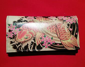 Fish Yakuza style tattoo Real leather trifold leather wallet tan