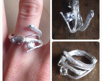 UnEarthed twig ring, handmade sterling silver organic and unique