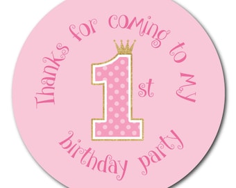 Thanks For Coming To My First Birthday Party' - Pink polka dot and gold glitter effect - 30mm stickers
