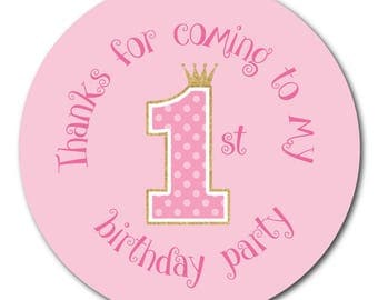 Thanks For Coming To My First Birthday Party - Pink polka dot and gold glitter effect - 60mm stickers