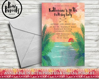 Bohemian Painted Watercolour Palm Tree Sunset - Luxury Customised Birthday Party Invitations (Printed & Digital)