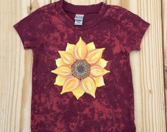Sunflower T Shirt, Girl's Top, Size 12 Months, Hand Painted T, Dark Red Top