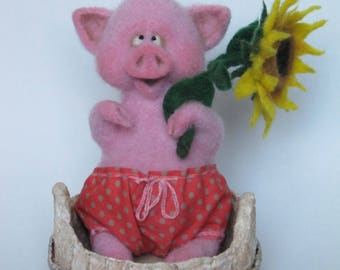 Wool needle felted piglet
