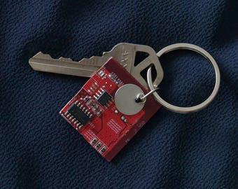 Key ring made from recycled computer parts