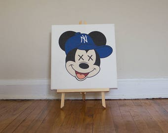 "Mickey x Yankees Logo - 12""x12"" Mounted Canvas"
