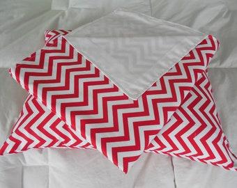 Red & White Chervon Pattern Baby Blanket w Pillow