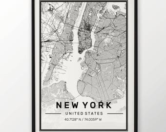 New York City Map Print, Modern Contemporary poster in sizes 50x70 fit for Ikea frame All city available London, New york Paris Madrid Rome