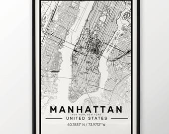 Manhattan City Map Print, Modern Contemporary poster in sizes 50x70 fit for Ikea frame All city available London, New york Paris Madrid Rome