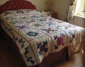 Handmade appliqué double quilt