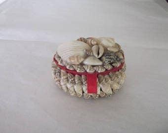 Vintage Miniature Sea Shell Trinket Box - Vanity or Dresser - Ring or Jewelry Box