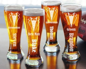 Personalized Groomsmen Beer Glasses - Best Gifts for Groomsmen - Best Man Gifts - Pilsner Glass - Groomsmen Gifts - Wedding Party Favors