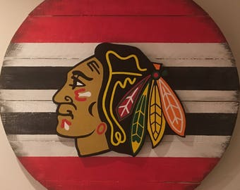 Chicago Blackhawks 3D Wooden Sign, Hand Painted, Distressed