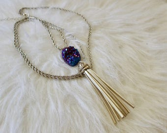 Quartz Charm with Long Chain Necklace