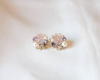 Cubic pearl stud earring,  Flower Stud earring, Stud earring, gift for her