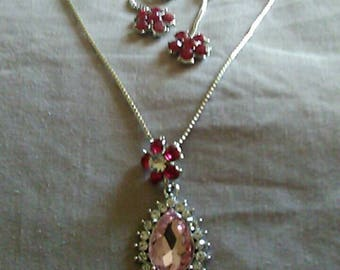 Pink Rhinestone necklace and earrings with silver chain