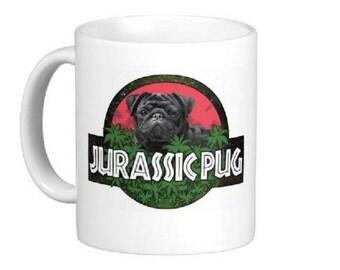 Jurassic Pug Mug Novelty Gift Idea New Dog Cup