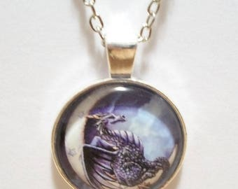 Dragon Sitting on the Moon Glass Cabochon Pendant Necklace SC510