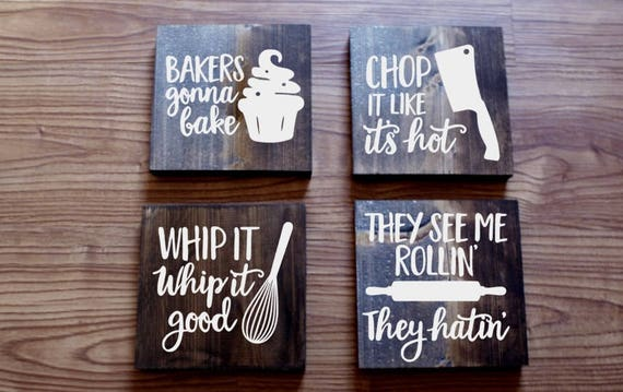 Set of 4 funny kitchen signs kitchen signs farmhouse sign for Funny kitchen set