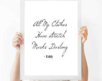 Typography Print - Typography Quote - Black and White - Home Decor - Minimalist - Monochrome - Absolutely Fabulous - Funny Print