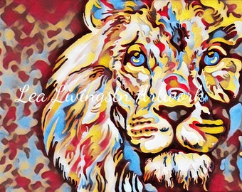 Acrylic painting - Lion - Zoo Animals - Photo - Prints - Canvas