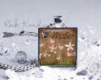 Mother Chocolate Floral Glass Tile Silver Bezel Pendant Necklace