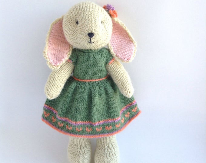 Hand Knitted Bunny, Knit Animal Rabbit, Stuffed Bunny Rabbit in dress, Handmade Knit Soft Cute Toy Bunny 10 inches