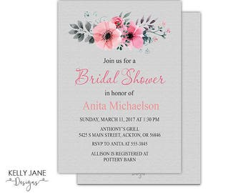 Bridal Shower Invitation - Pink and Gray Floral Bridal Shower invite - Printable Invitation YOB01