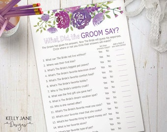 "What Did the Groom Say?"" Bridal Shower Game - Bridal Shower Activity - Purple Floral The Groom Said - Flower Printable Activity  PF01"
