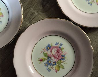 4 Vintage Harleigh Bone China Pink Rose Plates